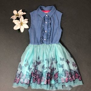 Little Lass denim and butterfly dress
